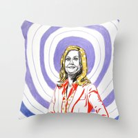 amy poehler Throw Pillows featuring Amy Poehler by Rachel Hoffman