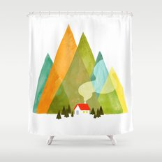 House at the foot of the mountains Shower Curtain