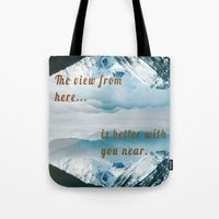postcard Tote Bags featuring Mountains Postcard by Darcy Lynn Designs