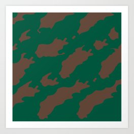 Octerson Green Brown Camouflage Army Pattern Art Print