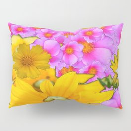 PINK COLOR PINK-YELLOW FLORALS ART Pillow Sham