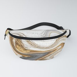 Gold, White, and Gray Abstract Painting Fanny Pack
