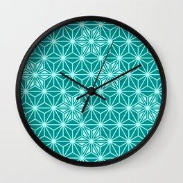 Japanese Asanoha or Star Pattern, Turquoise & Aqua Wall Clock