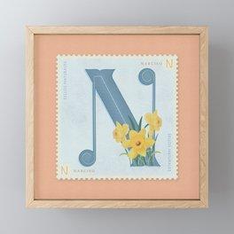 Sellos Naturales. Letter N. Flower: Narcissus Framed Mini Art Print