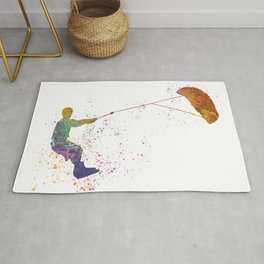 Young man practicing Kite Surf 02 in watercolor Rug