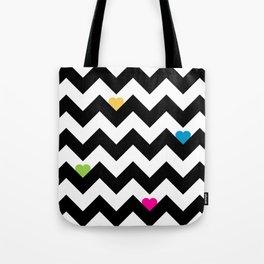 Heart & Chevron - Black/Multi Tote Bag