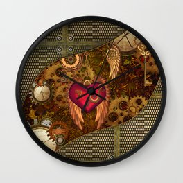 Steampunk, heart with wings Wall Clock