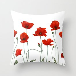 Poppy Stems Throw Pillow