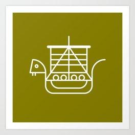 Viking Dragon Ship. Scandinavian pattern. Green. Art Print