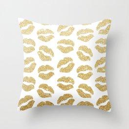 Gold Glitter Lips Throw Pillow