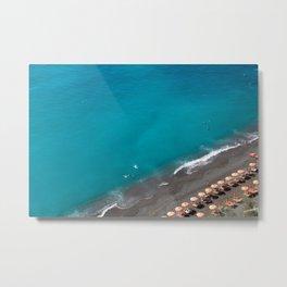 Positano Beach Umbrellas Metal Print