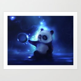 Panda and Bubbles Art Print