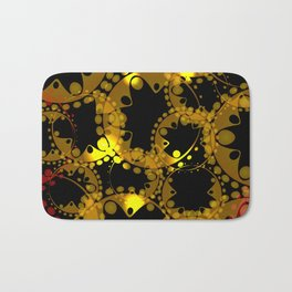 abstract glowing pattern of gears and spheres in red gold on a black background for fabrics o Bath Mat