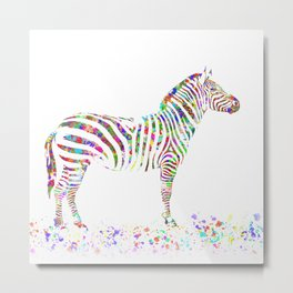 Colorful Zebra Metal Print