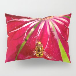 Flowers & bugs RED PASSION FLOWER & HOVERFLY Pillow Sham
