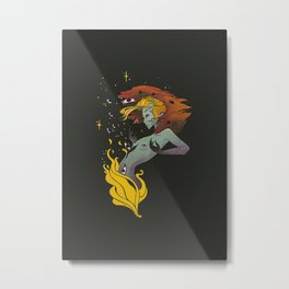 Fire Witch With Wolf Heads Metal Print