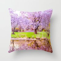 arnold Throw Pillows featuring Spring at Arnold Arboretum by LudaNayvelt