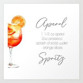 Cocktail Recipes. Aperol Spritz. Square Art Print
