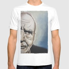Elderly Man MEDIUM White Mens Fitted Tee
