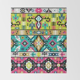 American indian ornate bright pattern design Throw Blanket