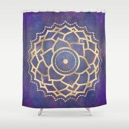 Mandala Chakra Copper and Purple Crown Chakra Shower Curtain