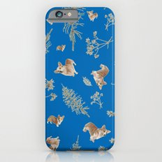 blue holiday corgis and twigs iPhone 6s Slim Case