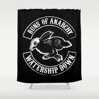 anarchy Shower Curtains featuring BUNS OF ANARCHY by RAGING BUNNIES