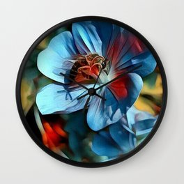 Flower with Bee Wall Clock