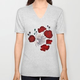 Bettas and Poppies Unisex V-Neck