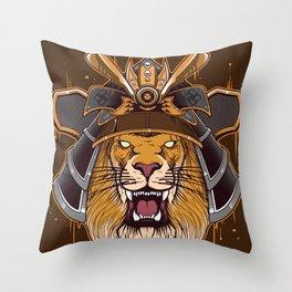 lion samurai Throw Pillow