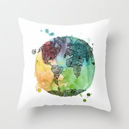 World Banded together Throw Pillow
