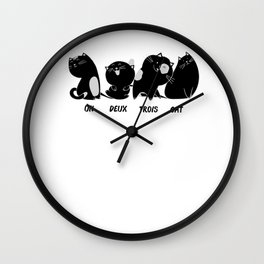 Cats Wordplay Funny Sweet French Gift Wall Clock