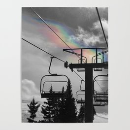 4 Seat Chair Lift Rainbow Sky B&W Poster