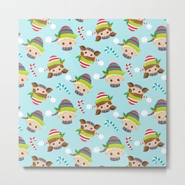 Cute Little Elves Faces Pattern Metal Print