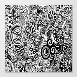 Mushy Madness doodle art Black and White Canvas Print
