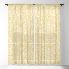 Sunshine Yellow Coneflowers Sheer Curtain