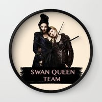 swan queen Wall Clocks featuring Swan Queen Team by Geek World