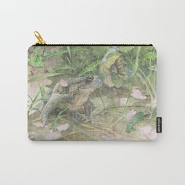 Toad with Cherry Blossom Petals Carry-All Pouch