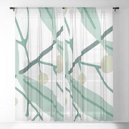 Flower Pattern Leaves Sheer Curtain
