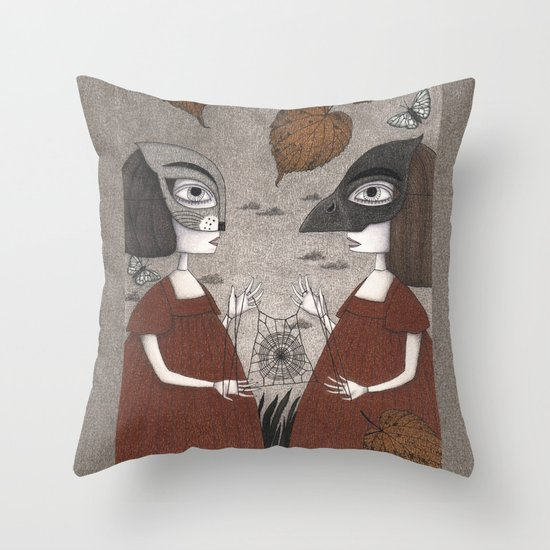 Ana and Eva (An All Hallows' Eve Tale) Throw Pillow