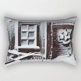 Snow Caked Barn Rectangular Pillow