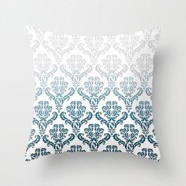 DAMASK GREY TO TEAL Throw Pillow