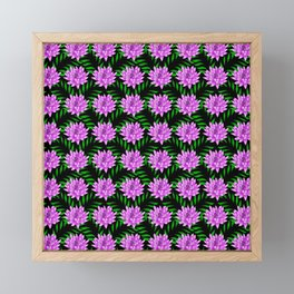 Pink pretty blooming lily flowers and green leaves black floral pattern design Framed Mini Art Print