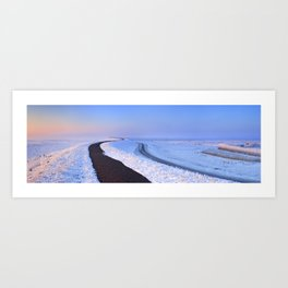 I - Lake and dike at sunrise in winter in The Netherlands Art Print