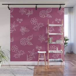 Floral Doodles (White Flowers on Plum) Wall Mural