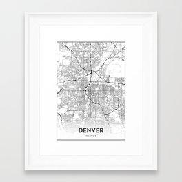 Minimal City Maps - Map Of Denver, Colorado, United States Framed Art Print
