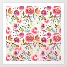 blush pink peonies watercolor fuchsia flowers Art Print