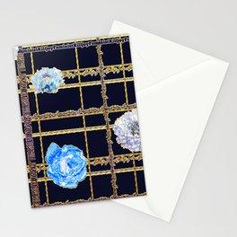 Beautiful Gold and Blue Floral Feminist Killjoy Tartan Stationery Cards