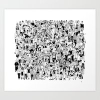 it crowd Art Prints featuring Crowd by mutante