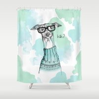 greyhound Shower Curtains featuring Funny Greyhound by Bentje Graumann